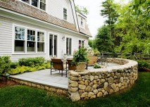 Luxury Backyard Stone Patio Wall Landscape Design