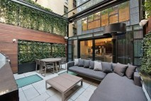 Modern Outdoor Living Room Green Grass Backyard Rattan Varnish Table Marble Floor Area With White Fabric Comfort Sofa