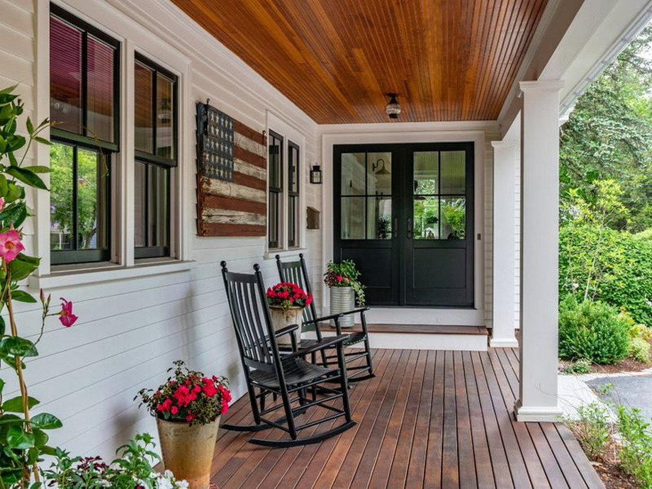 Simple Style For Farmhouse Home Back Porch Design Ideas ... on Back Deck Designs For Houses id=57233