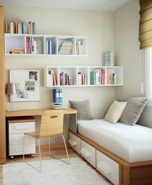 Tiny Bedroom With Workspace Design Ideas