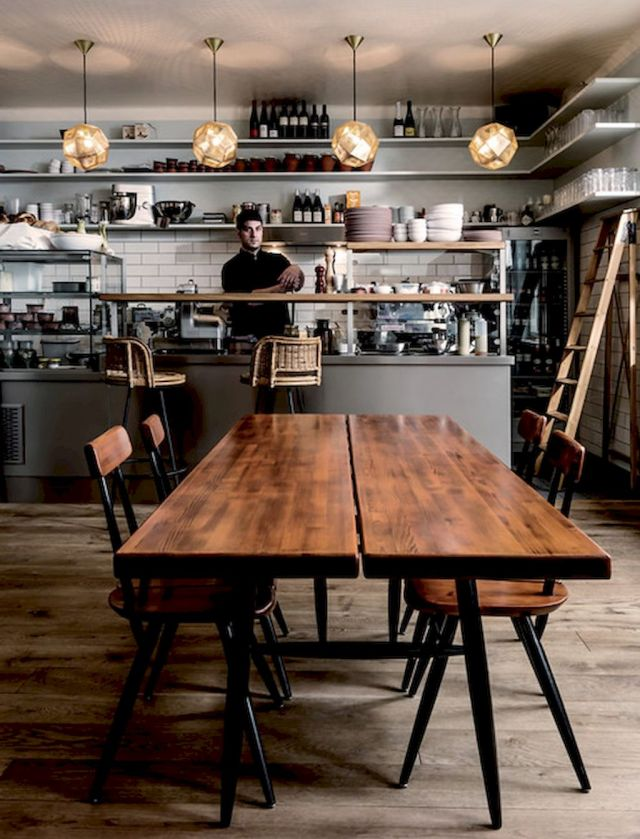Use Of Wood Materials For Scandinavian Theme For Cozy Coffee Shop..