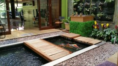 Wood Plywood On Each Side For A Fish Pond In The Family Room