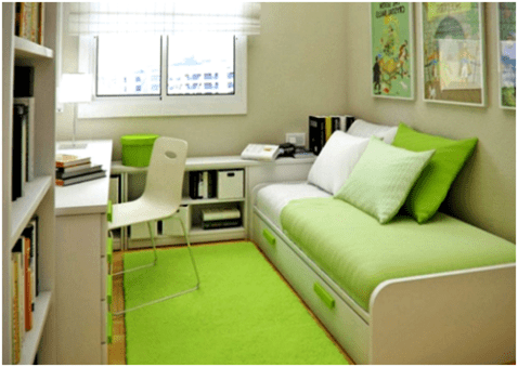 Color Selection for Bedroom Design Ideas with Narrow Space