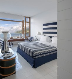 Beach House Mediterranean Bedroom With Blue Cobalt Color