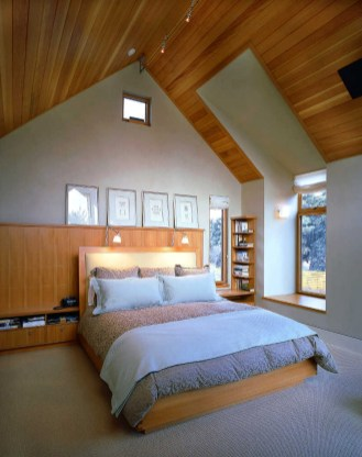 Beautiful Attic Bedroom Layout With Wooden Ceiling Systems And Platform Bed Furniture For Attic Bedroom Ideas Attic Bedroom