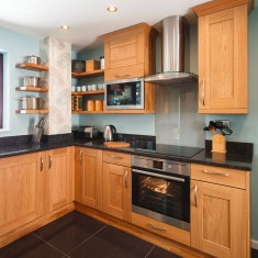 Beautiful Natural Brown Wood Applied To The Kitchen Set