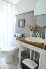 Bright White Sink Bathroom With Statement Wood Countertop