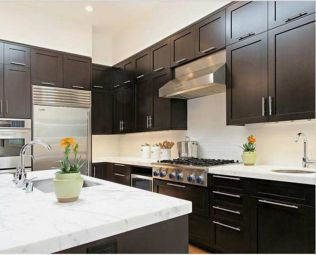 Coffee Brown Color for Elegant Brown Minimalist Kitchen Decorating Ideas