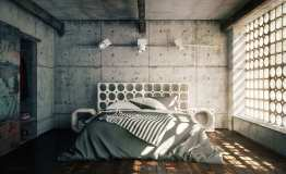Concrete Wall for Awesome Industrial Bedroom Inspiration