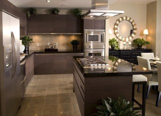 Contemporary Kitchen With Dark Brown Cabinets And Black Counter