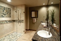 Elegant Mosaic Tile Shower Designs With Glass Divider And Marble Countertop On Master Bathroom Ideas