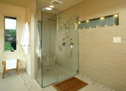 Glass Divider For Simple Bathroom Design Without Bathtub
