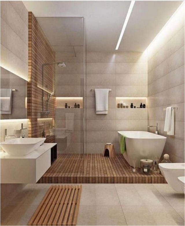 Horizontal Wood Panel And Wood Floor Bathroom