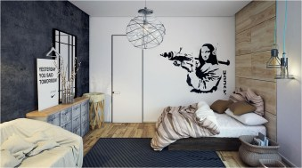 Industrial Bedroom With Low Bed And Wood Floor