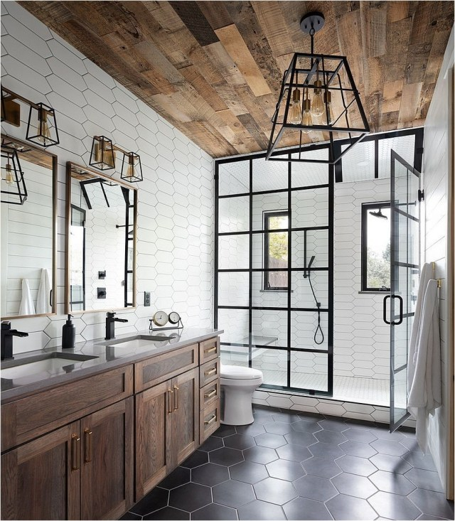 Luxury Wood Roof And Hive Bee Tile Bathroom