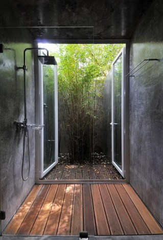 Natural Concept for Simple Bathroom Design Without Bathtub