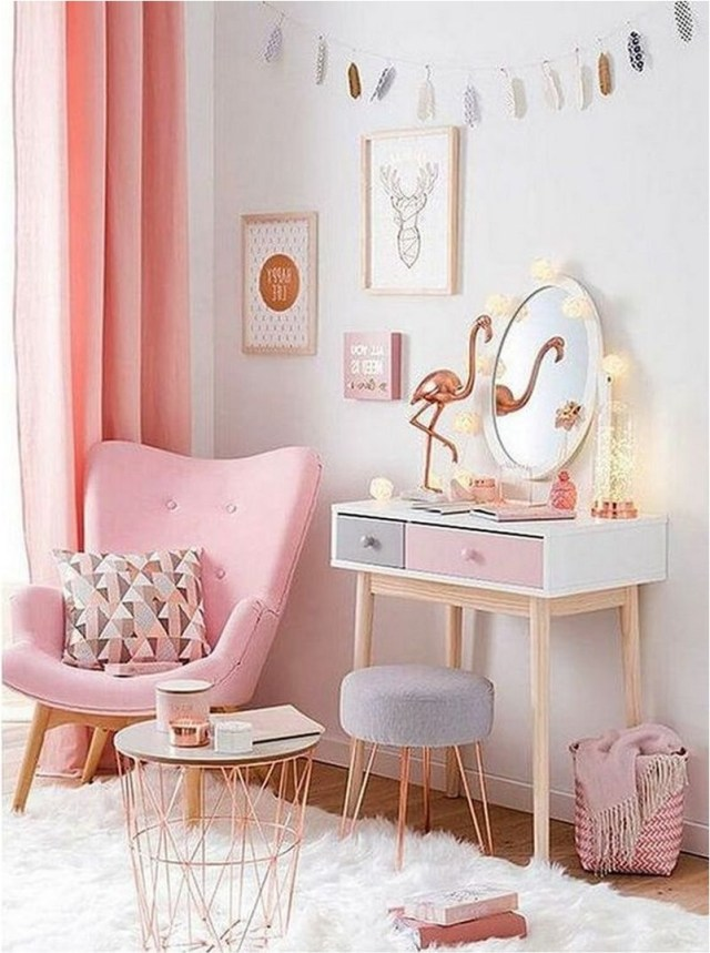 Pink Makeup Table And Mirror In Bedroom