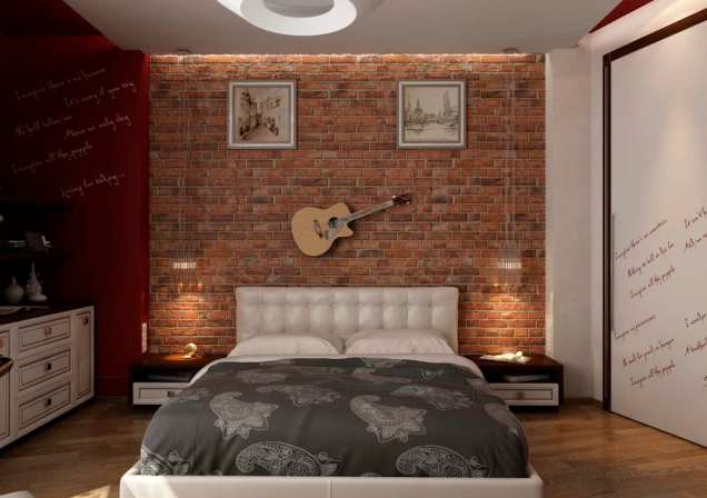 Room Wall for Awesome Industrial Bedroom Inspiration
