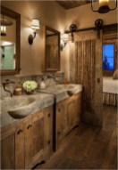 Rustic Bathroom With Wooden Accents And Stone Wastavel