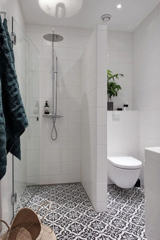 Small Bathroom With Pole Shower Set