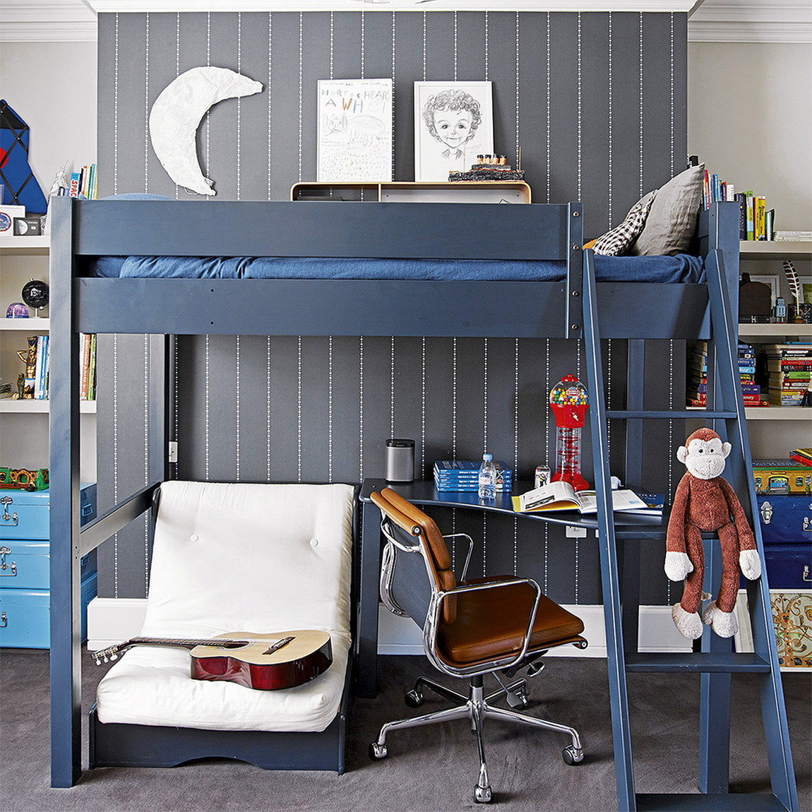 Small Bedroom Ideas For Teenage Boys With Bunk Beds Combined With Tables For Learning Architecturein