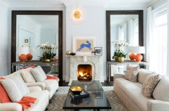 Small Living Room Lighting Design Ideas With 2 Sets Of Mirrors