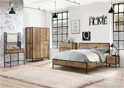 White Industrial Bedroom With Wood Furniture Ideas
