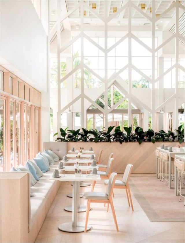 White And Glass Wall Restaurant Design