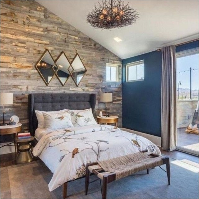 Wood Wall And Warm Lamp Color Bedroom