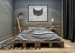 Wooden Pallet Bed for Awesome Industrial Bedroom Inspiration