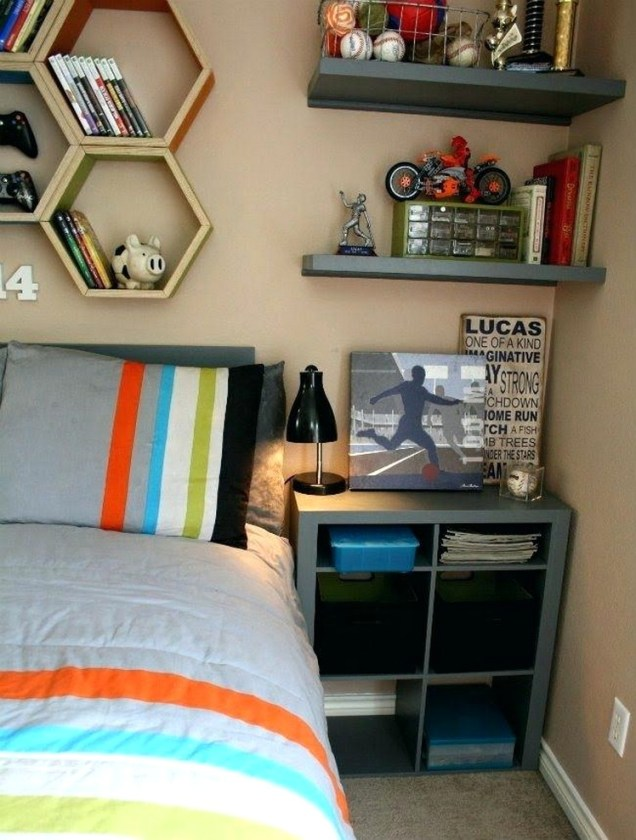 Bedroom Ideas For Boys With Storage And Wall Shelves