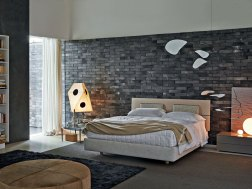 Abstract Color Design for Bedroom with Brick Accents