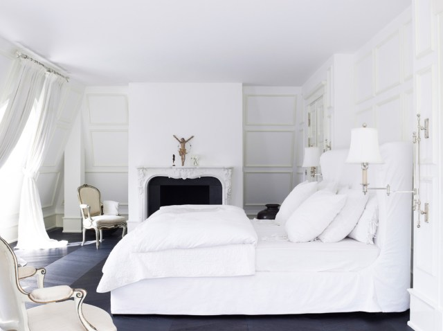 Ceramics, Bed Cover, and Curtain for All-White Style House Design