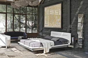 Charcoal Paint Bedroom with Brick Accents