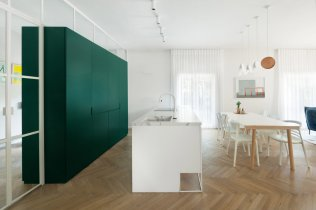 Clear Circulation for White-style Apartment with Refreshing Green Accents