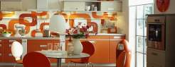 Dazzling Orange for Kitchen Design Ideas with Amazing Wall Decorations