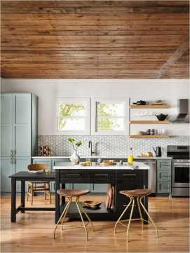 Modern Kitchen With Ceiling And Floor Wood