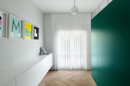 Storage Cabin for White-style Apartment with Refreshing Green Accents
