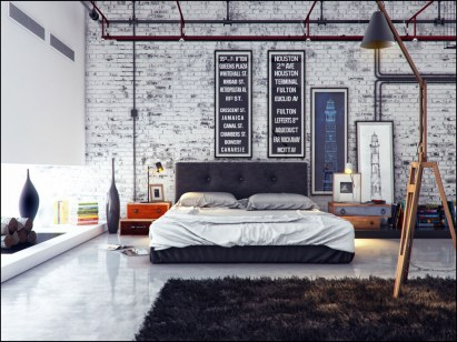 Unique for Bedroom with Brick Accents