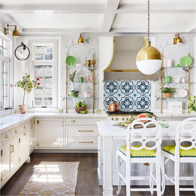 Vintage Kitchen With White Color And Green Gradations