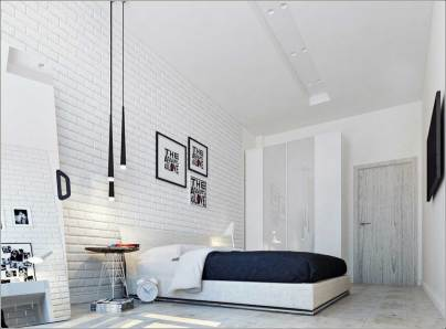 White for Bedroom with Brick Accents