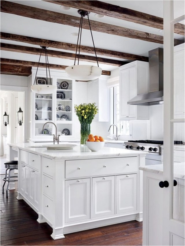 Woden Mediteranian Kitchen Floor And White Color Combinations