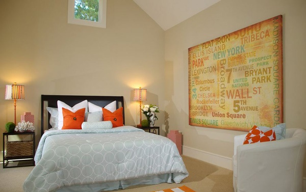 Art Decoration for Tips on Applying Orange Color to Your Bedroom