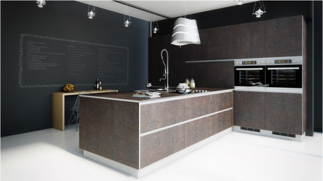 Black And Dark Brown Classic Kitchen With White Floor]