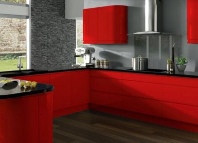 Combination with Black Table for Modern Kitchen with Red Theme