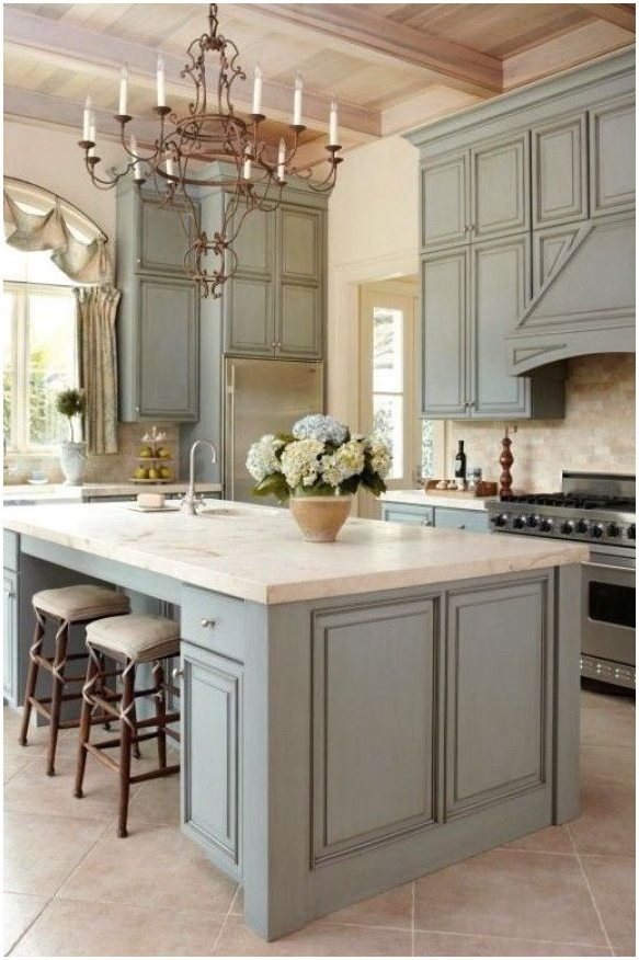 Grey Kitchen With Traditional Chandelier