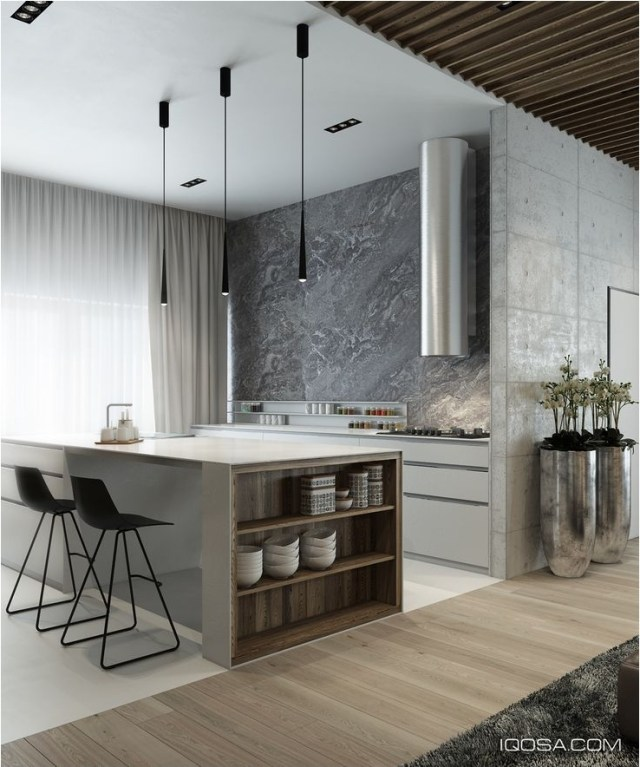 Modern Classic Kitchen Ideas With Marble Table