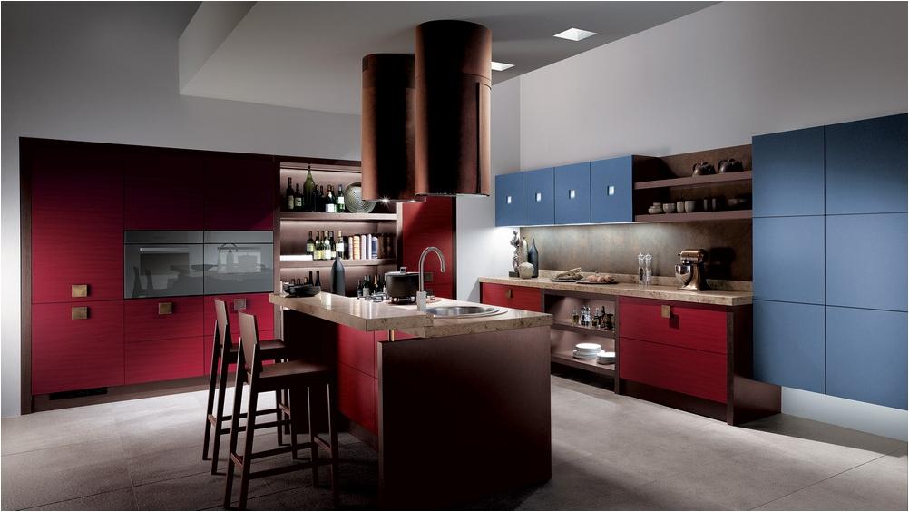 Kitchen Cabinets for Modern Kitchen with Red Theme