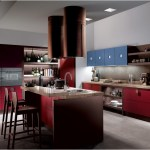 Open Shelves For Modern Kitchen With Red Theme