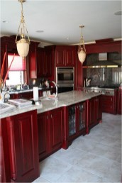 Red Blooded Kitchen Cabinet With Marble Table